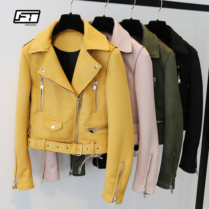 Fitaylor Yellow   Suede     Leather   Jacket Women Slim Zipper Biker Coat Black Motorcycle Biker Belted Short Coats Basic Street Outwear