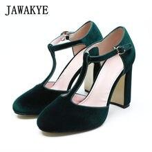 7d89f783 2018 zapatos de lujo de verano para mujer diseñadores de terciopelo verde  Correa T zapatos de tacón alto grueso sandalias de gla.
