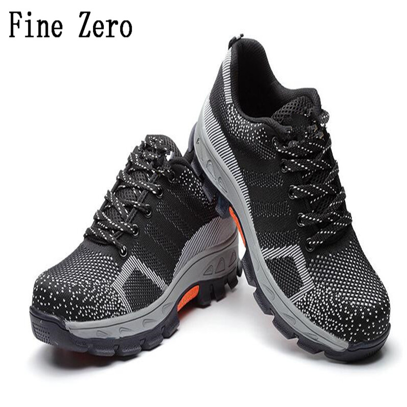 Good Fine Zero Men Big Size 46 Spring Autumn Boots Work Safety Shoes Steel Toe Cap For Anti-smash Puncture Proof Protective Footwear Men's Shoes