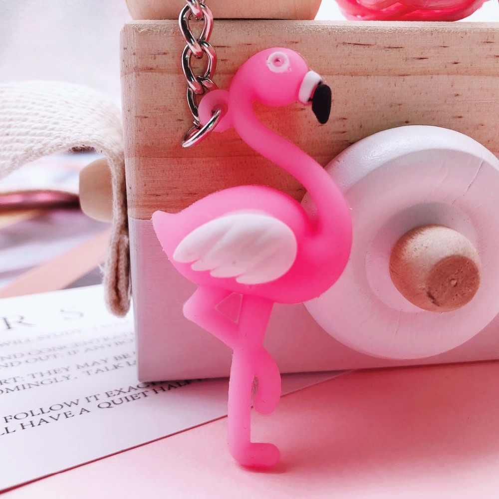 2019 Nova Llaveros Bonito Chaveiro Flamingo Keychain Animal Bonito Chaveiro Carro Anel de Homens e mulheres Saco de Chaveiro Pingente Pequeno Quente