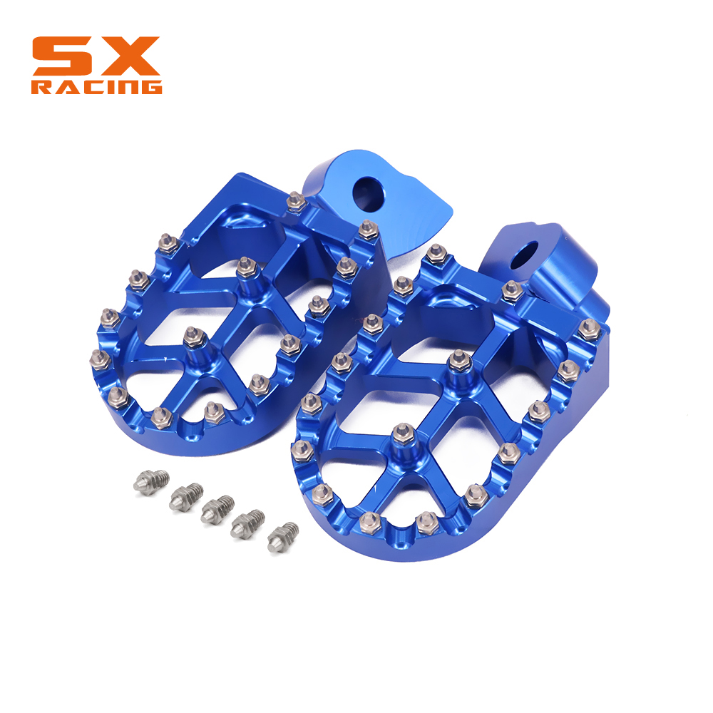Motorcycle Aluminum Red And Blue Foot Pegs Footpeg Pedals FootRest For HUSQVARNA CR SM SMR TC TE TXC WR 50-610 1999-2013