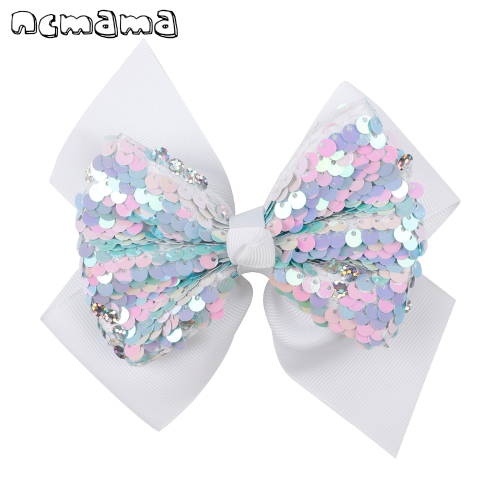 Ncmama 5 Inch Hair Accessories Hair Clips For Girls Reversible Sequin Double Layers Solid Ribbon Bows Kids Hair Clips Hairpins
