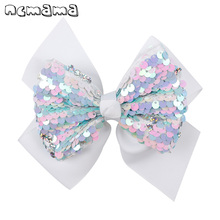 ncmama 5 inch Hair Accessories Clips For Girls Reversible Sequin Double Layers Solid Ribbon Bows Kids Hairpins