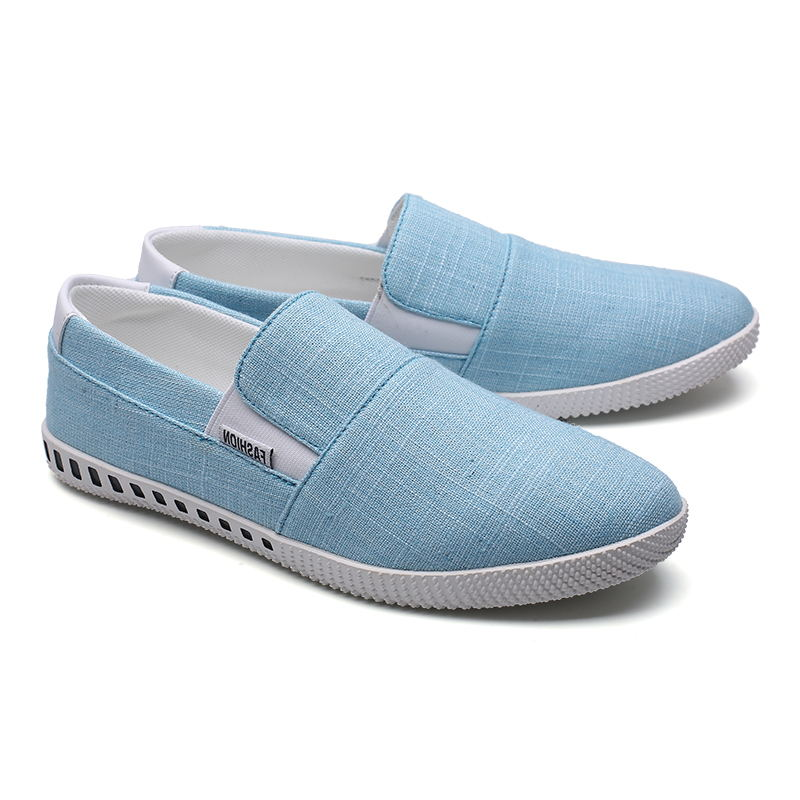 LAISUMK Summer Classic Men Canvas Shoes Breathable White Casual Vulcanized Shoes Men Slip On Breathable Flats For Men Zapatos in Men 39 s Casual Shoes from Shoes