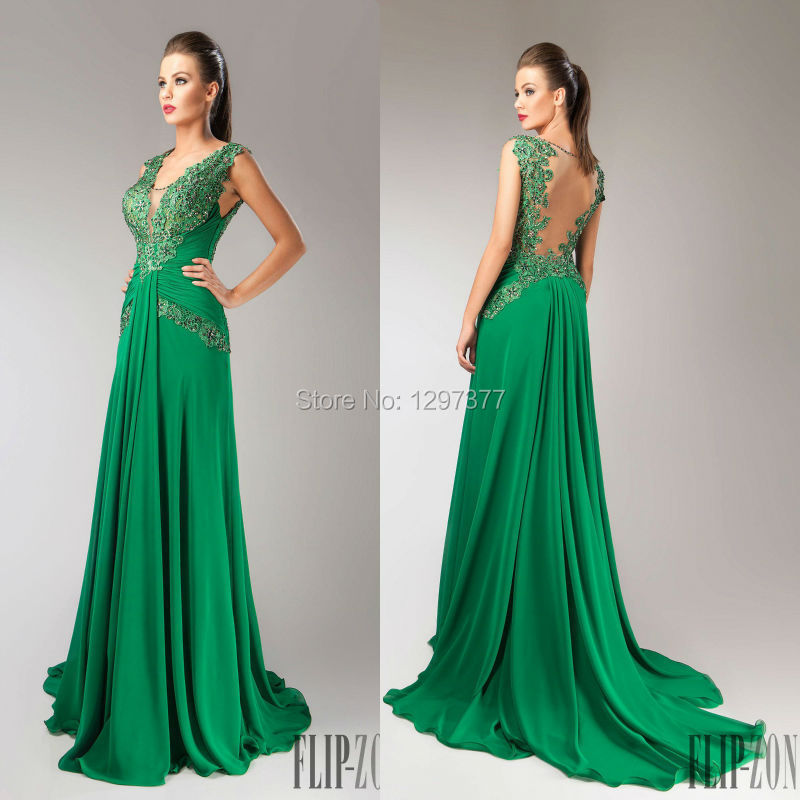 2f51a3459583 Forest Fitted Green Prom Dress Chiffon Formal Evening Gown With Beaded Lace  Appliques Sheer Nude Tulle Backless Evening Dress