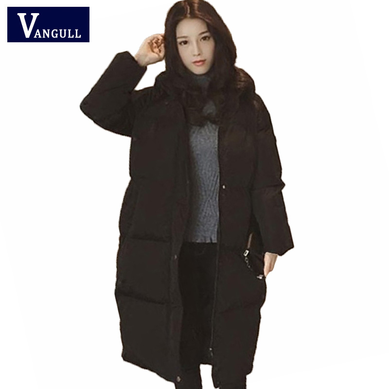 Women Winter Long Coats Elegant Long Sleeve Female Fashion Jackets Hoodies Parka Black Gray Chic Outwear mujer VANGULL 2018 New