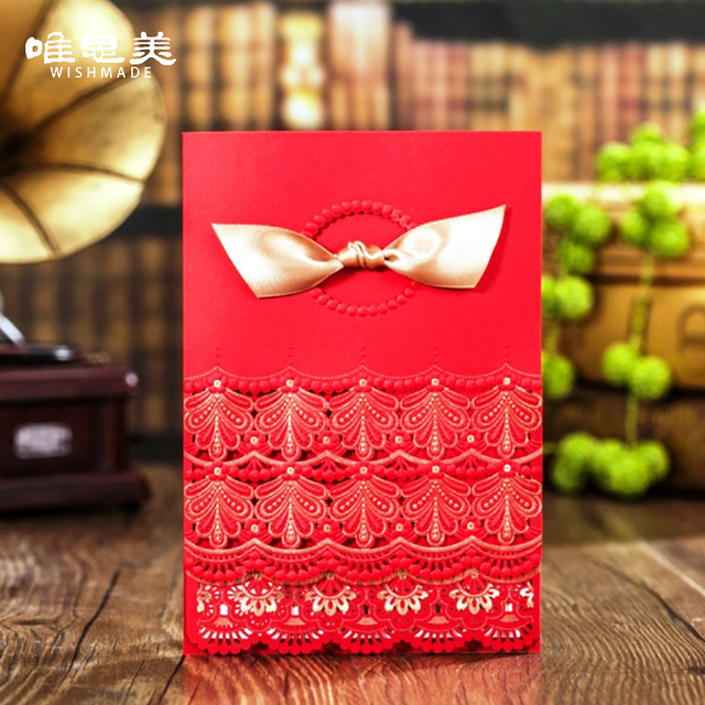 wishmade laser cut red wedding invitations card with ribbon elegant