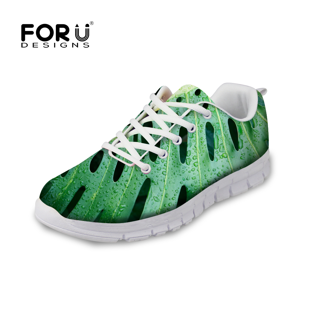 Women Casual Shoes 2016 Fashion Green Plant Print Shoes Women Breathable Walking Sport Shoes Platform Female Flats Shoes Zapatos image