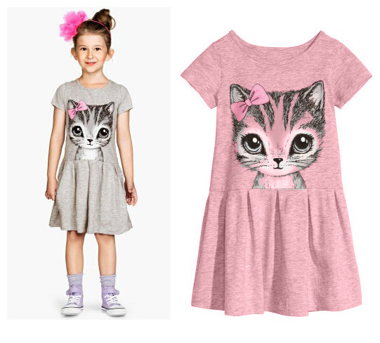 Cute Cat Baby Girls Dress Summer Princess Children Dresses Kids Grey Pink A-Line Dress for 3-8 years Girl Clothes summer cartoon castle sleeveless girls print dress knee length princess a line dress clothes for kids 6 to 12 years old kids