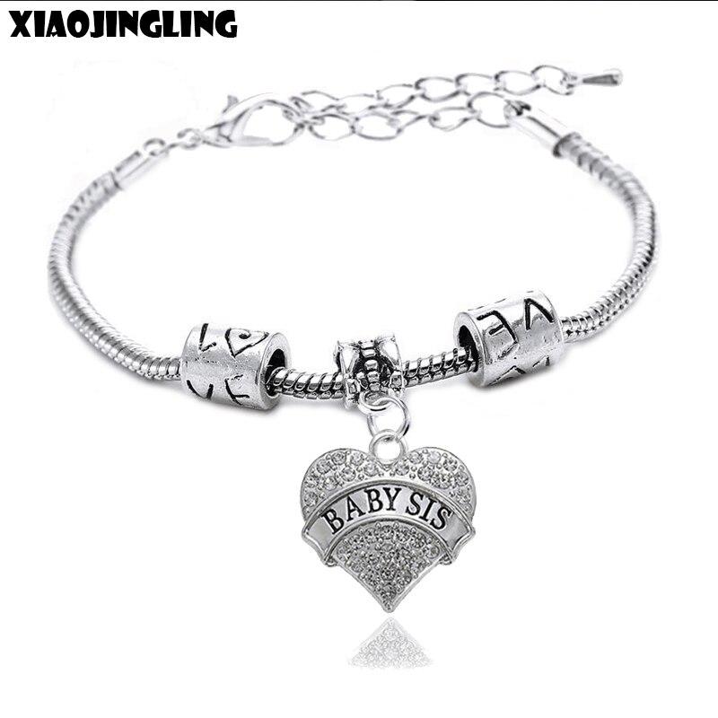 XIAOJINGLING Heart Rhinestones Pendant Charm Bracelets Baby Sis Family Gift Friendship Bangles Fashion Bracelets For Women 2017