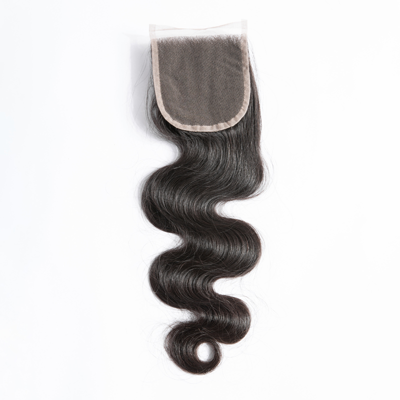 "Mayflower 4X4"" Virgin Hair Lace Closure Malaysian Body Wave With Baby Hair Hand Made Middle Brown Lace Color Three Kinds Of Part"