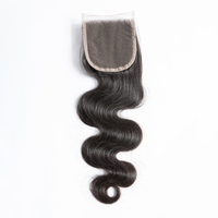 Mayflower 4X4 Virgin hair Lace closure Malaysian body wave with baby hair hand made Middle brown lace color three kinds of part
