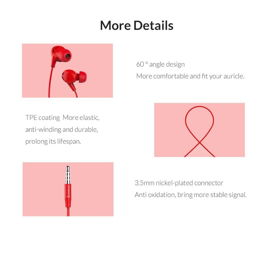 Купить с кэшбэком ORICO Profession In-ear Earphone Colorful Headset Earbuds Bass Earphones for iPhone 6 6S 7 8 Xiaomi Ear Phones fone de ouvido