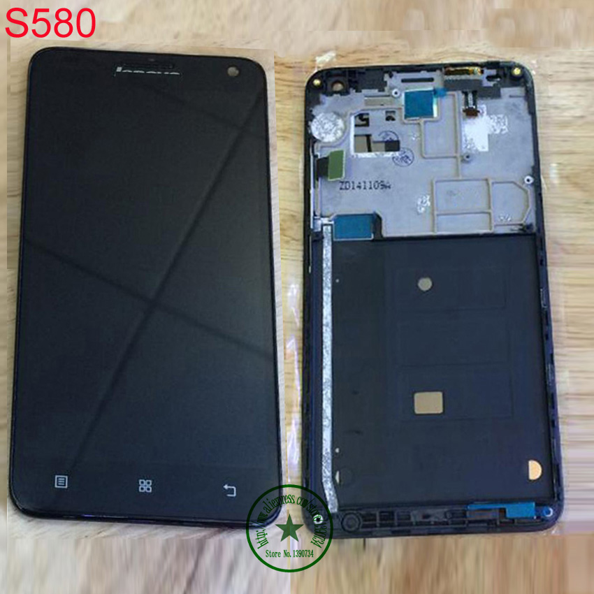 TOP Quality Black Full LCD Display Touch Screen Digitizer Assembly with Frame For Lenovo S580 Replacement Free Shipping форадил комби капсулы 12мкг 200мкг 60 60шт