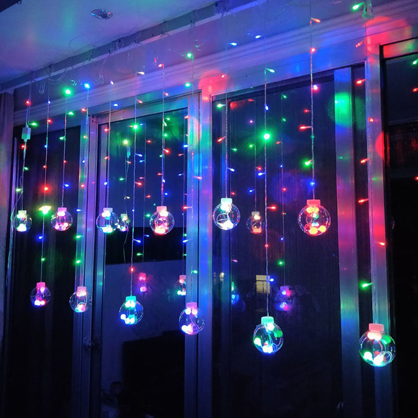 2.5M AC220V Transparent Wishing Balls LED Curtain Fairy String Lights Romantic Xmas Christmas Wedding Party Decoration Lights