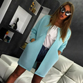 European and American fashion 2015 Hot solid color round neck long coat pocket