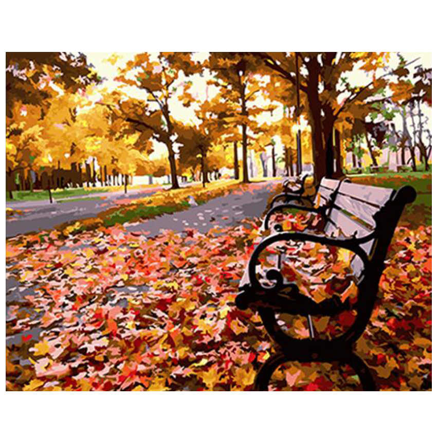 Drawing By Numbers,Autumn Tree,Diy Oil Painting Numbers,Fallen Leaves Paint Number Kits
