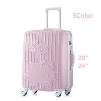 24 дюймов женская сумка для багажа дорожная сумка на колесиках, чемодан на колесах из АБС, девушка, рисунок «Hello Kitty» Дорожный чемодан, сумка д...