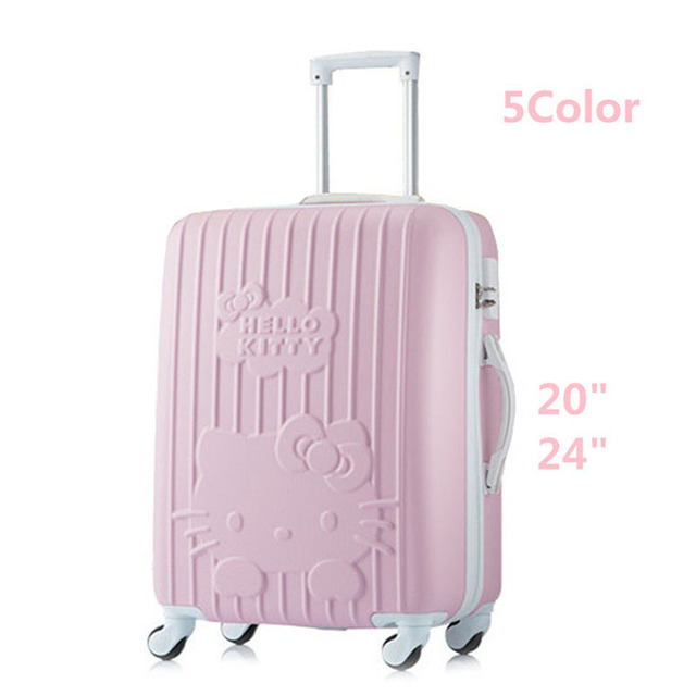 24 inch women luggage travel bags trolley,ABS Trolley Case,Girl Hello Kitty Travel Suitcase, Girls rolling luggage with 4 wheels