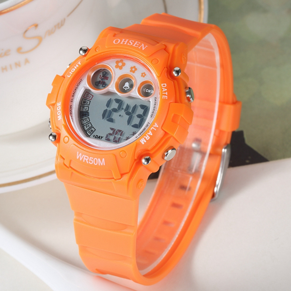 OHSEN Fashion Boys Watches Kids Child Watches Sports Alarm Watch Unisex Boy Silicone Strap Orange Digital LCD Wristwatch Relojes