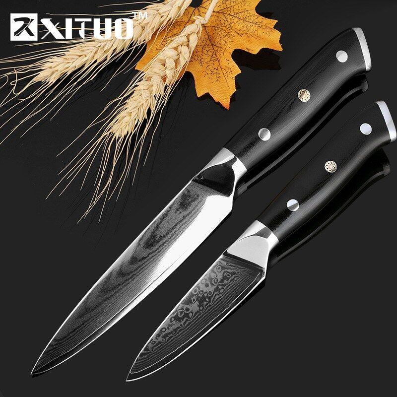 Xituo Дамаск кухонный нож устанавливает 5 + 3,5 дюймов обстрагывая 2 шт. 67 слоев Японии VG10 дамасской стали нож шеф-повара утилита Столовая инстру...