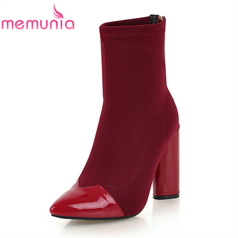 MEMUNIA new arrival 2020 ankle <font><b>boots</b></font> pointed toe <font><b>extrem</b></font> <font><b>high</b></font> <font><b>heels</b></font> <font><b>boots</b></font> zip mixed colors <font><b>sexy</b></font> women dress shoes plus size 33-46 image