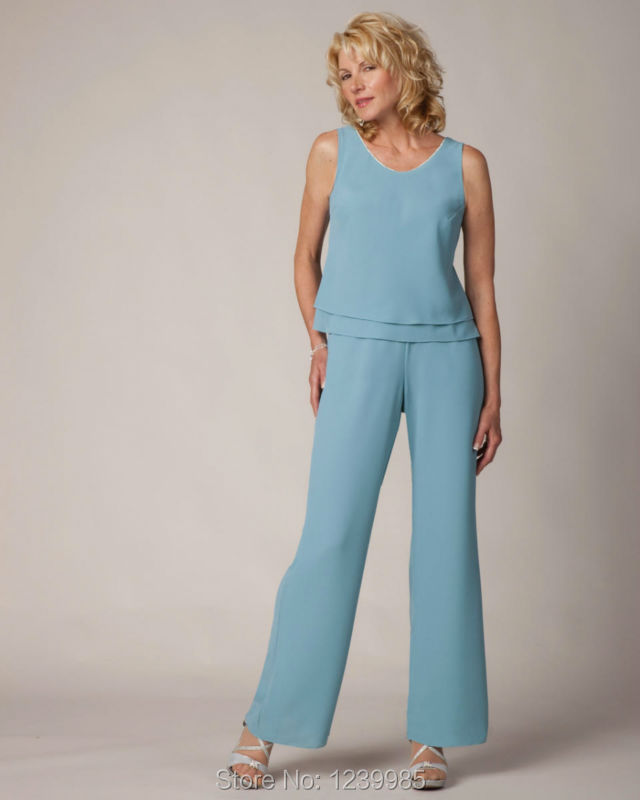 RM003 Plus Size Baby Blue Mother of the Bride Pant Suits Chiffon ...