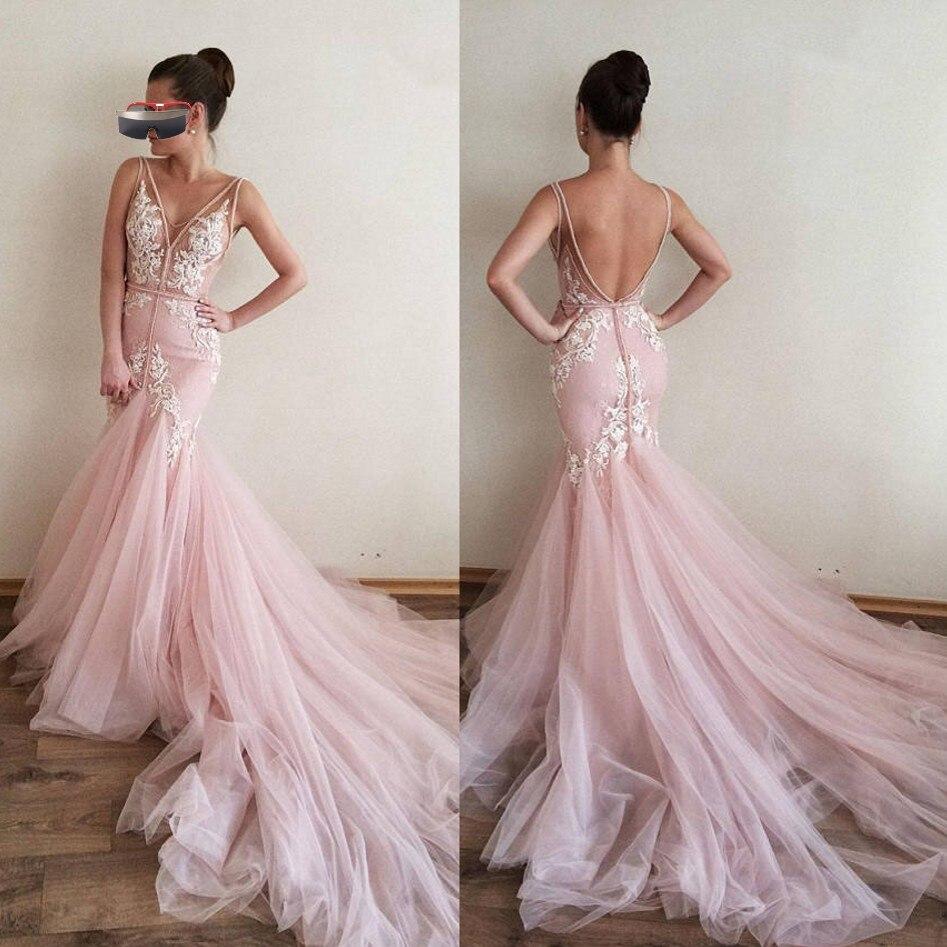 Pink Muslim Evening Dresses 2019 Mermaid V neck Tulle Lace Appliques Backless Islamic Dubai Saudi Arabic