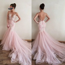 Pink Muslim Evening Dresses Mermaid V neck Tulle Lace Appliques Backless Islamic Dubai Saudi Arabic Long Evening Gown Prom