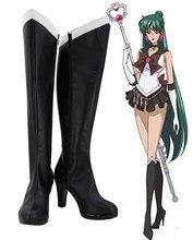 c39ecd43d3b2 Sailor Moon Meiou Setsuna Cosplay Boots Black Shoes High Heel Custom Made  Any Size(China