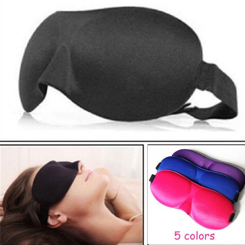 Noir Masque pour les yeux de sommeil en soie douce Double bandage /élastique Eyeshade Cover Eyepatch