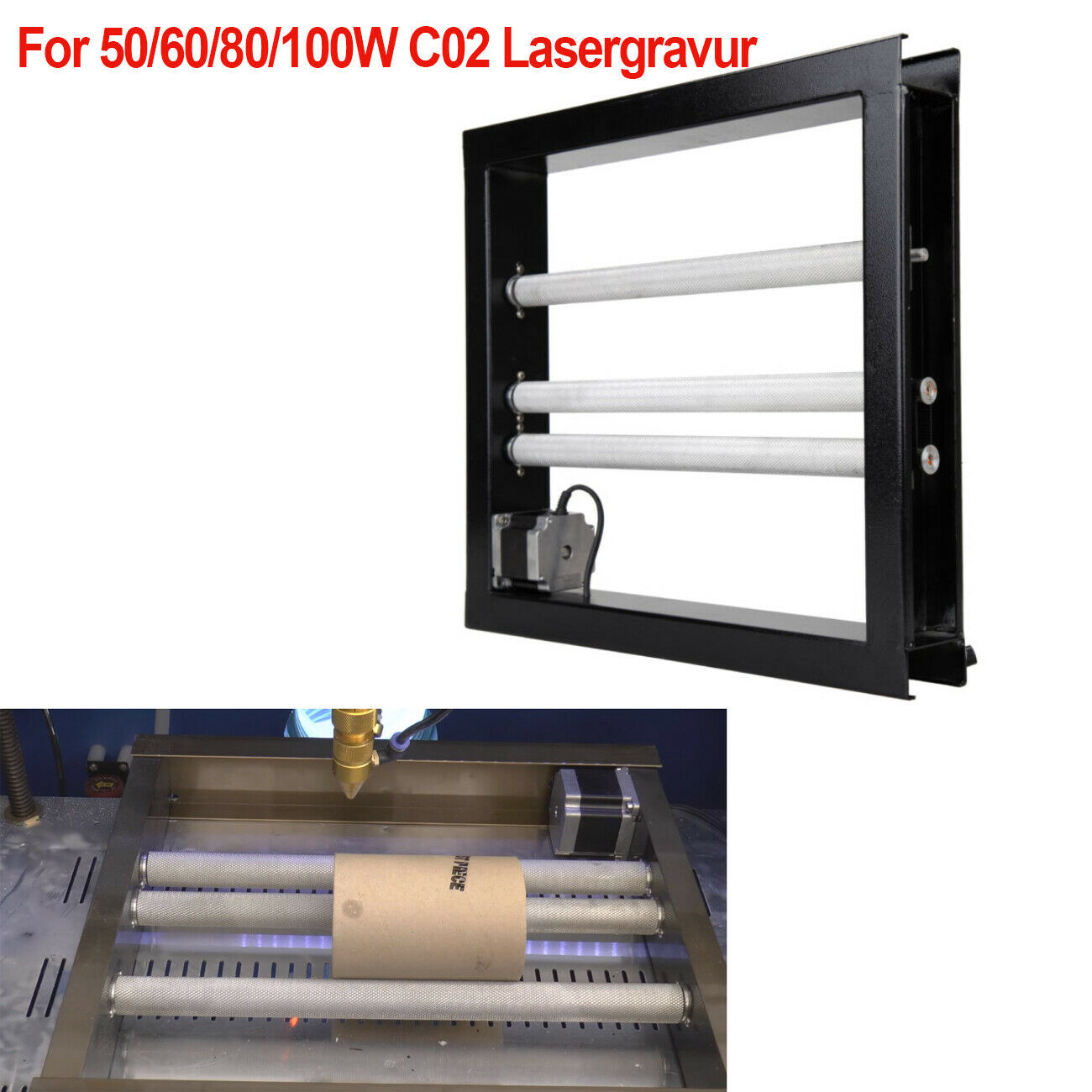 Rotary Axis Attachment Cylinder 4th Axis For Co2 Laser Cutter Engraving Machine