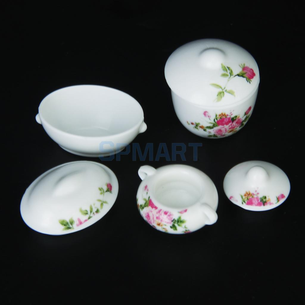 3pcs-Doll-House-Kitchen-Miniature-Casserole-Pot-Bowl-Lid-with-Floral-Pattern-1