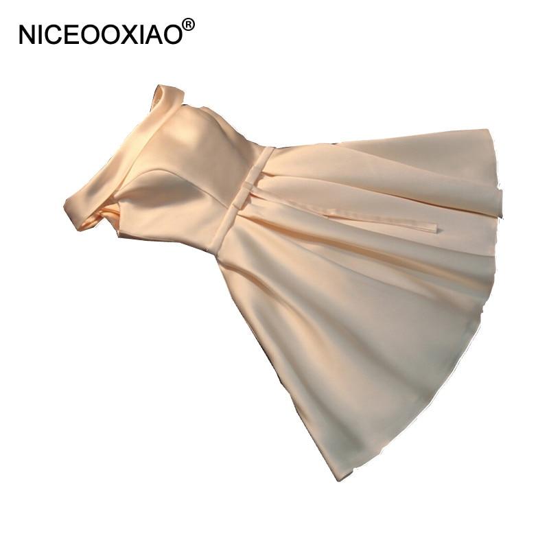 NICEOOXIAO Short Evening Dress 2017 Women Elegant Satin Party Ball Gown Sexy Bride Banquet Dress