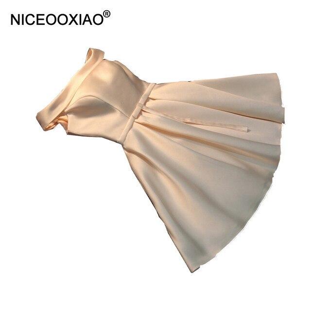 Niceooxiao Короткие вечерние платья 2018 Для женщин элегантные атласные партии бальное платье Sexy невесты для торжеств платье на заказ вечерние халат De Soiree