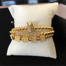 3Pcs/Sets Luxury CZ Paved Dice Crown Bar Bracelet Sets 5mm Copper Beads Couple For Male Hand Jewelry Accessories