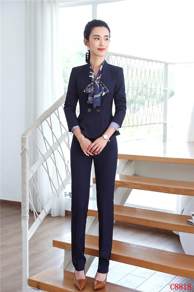 86807c89c0bc Pantaloni Donna Il grey Donne Eleganti Blazer Scuro E Giacca Affari Set  Usura Del Blu blu ...