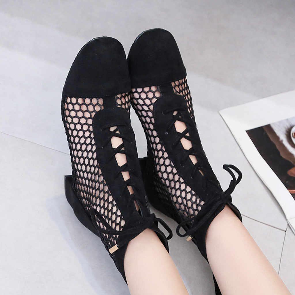 แฟชั่นเลดี้ฤดูร้อนโรมัน Hollowed Out สั้นสายรัดนุ่ม Elegant ผู้หญิงเซ็กซี่รองเท้าผู้หญิง Streetwear