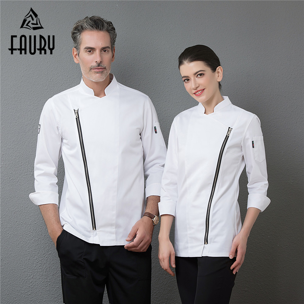 2018 New Zipper Chef Long Sleeve Jackets Professional Top Restaurant Hotel Waiter Work Uniforms Cozinha Cocina Catering Clothing