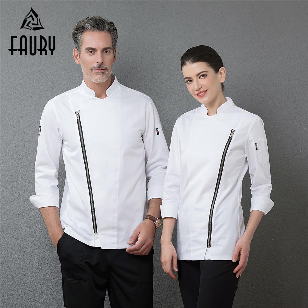 2018 New Zipper Chef Long Sleeve Jackets Professional Top Restaurant Hotel Waiter Work Uniforms Cozinha Cocina Catering Clothing