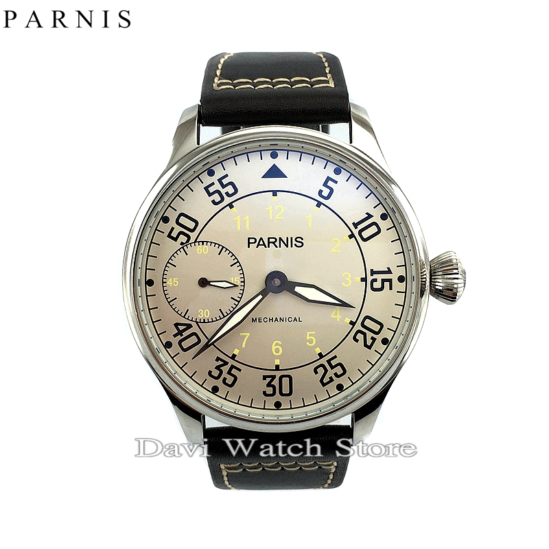Parnis 44mm White dial Seagull st36 mechanical hand winding mens 6497 watch