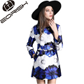 Trench Femme 2017 New Elegant Blue Floral Printing Trench Coat for Women Double Breasted  Slim Fitting London Brand Trench
