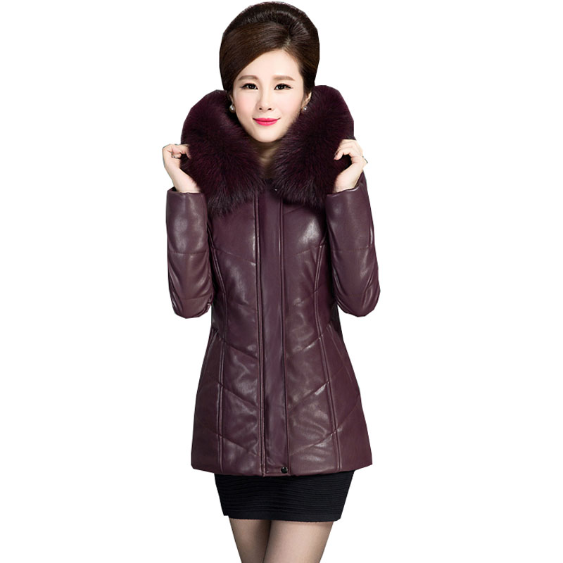 6XL Ukraine Fur collar Plus size Winter Down Cotton Jacket Women Thicker Leather Coat 2017 New Middle-aged Fashion Femme   Parka