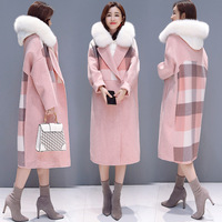 Korean 2018 Autumn And Winter Plaid Coat Women Fashion Big Fur Collar Double Breasted Female Overcoat Plus Size Long Coat