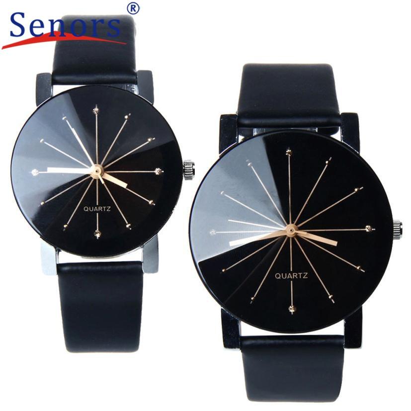 HF2017 New  Quartz Dial Clock Watch Men Women Leather Band Round Case Business Wrist Watches Relogio feminino Gift 1 pc