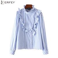 LERFEY Autumn Women Ruffles Blue Striped Shirt Buttons Long Sleeve Blouse Elegant Style Ladies Casual New