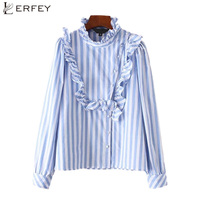 LERFEY Autumn Women Ruffles Blue Striped Shirt Buttons Long Sleeve Blouse Elegant Style Ladies Casual New