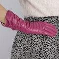 2017 новый Осень зима женщины пряжки высококачественные дизайн локоть длинные овчины плед из натуральной кожи наппа перчатки рукавицы