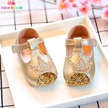 POSH DREAM Gold Crown Spring and Autumn Princess Brand Baby Girls Shoes  Newborn Baby Shoe Diamond Toddler First Walker Shoes 435563b27ee2