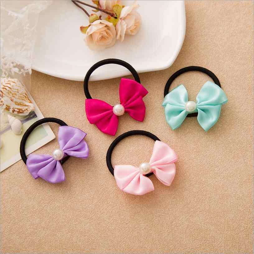 Elastic Hair Bands Pearl Dot Cute Bow Rabbit Ears Elastic Rubber Bands Hair Rope Girls Scrunchy Accessory for Hair Tie